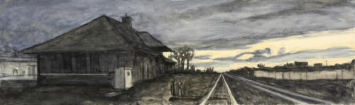 "Abandoned Station, Bozeman, Montana 12x40"" SOLD"