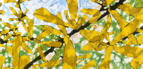 "Forsythia Study I 24x48"" SOLD"
