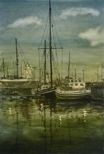 "Evening,Lowestoft Harbour 30x20"" SOLD"