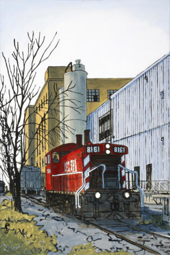 "Park and Lansdowne Sts., Peterborough 36x24""  $2300."
