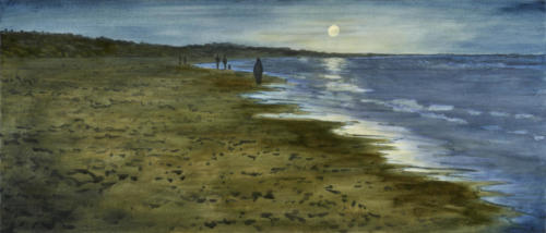 Summer Evening, Skagen Beach Denmark 52x22 $2500